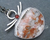 Mexican Crazy Lace Agate Carnelian Hematite and Sterling Silver Pendant Necklace - bold orange gray white gemstone boho wire wrapped chain