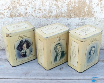 Vintage Antique 1930  French tin box set of 3 canisters regionalist women portraits