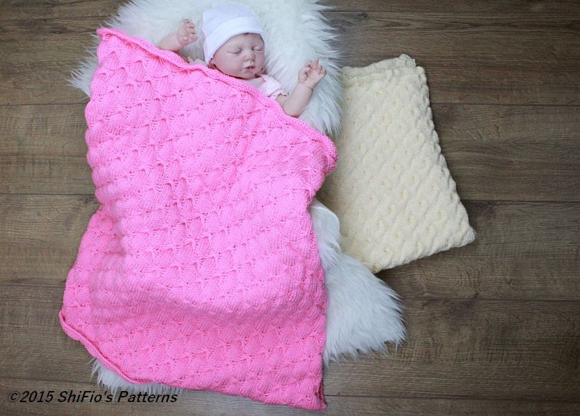 Butterfly Baby Blanket Knitting Pattern : KNITTING PATTERN For Baby Butterfly & Cable Stitch Blanket