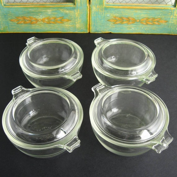 Set 4 Pyrex 10 Oz Mini Casseroles Clear Baking Dishes