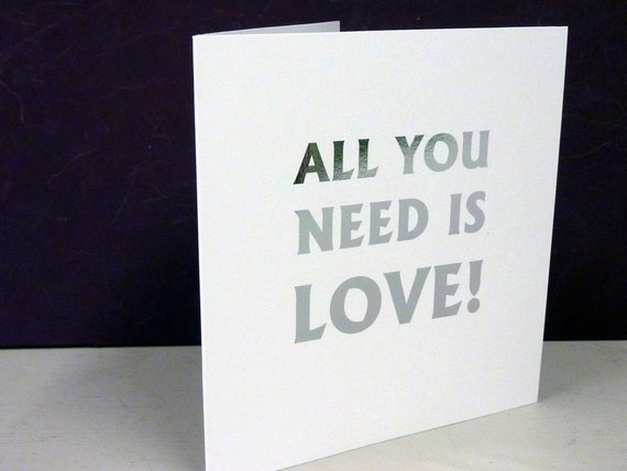 All You Need Is Love Wedding Invitations: 10 Personalised Foiled Folded Wedding Invitations All You