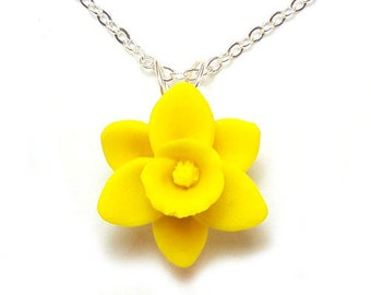 Daffodil Necklace - Daffodil Jewelry Collection, March Birthday Birth Flower