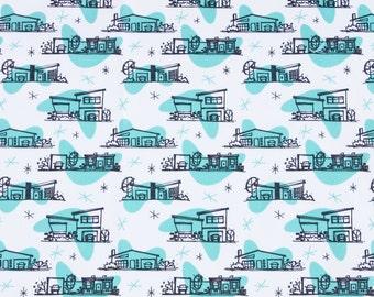 Retro Fabric Print / Atomic Ranch Houses / Boomerang Fabric / House Print / Fat Quarters / Kona Cotton / Quilting Cotton