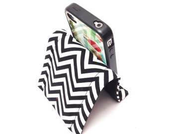 Iphone Stand Holder Smartphone Ipod Docking Station Personalized Gift Idea For Him - Chevrons in Black and White