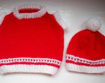 Vegan baby set, vest top, bobble hat, toddler tank top, child's slipover, pompom beanie, red, white by SpinningStreak