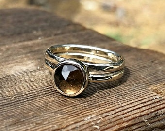 Smokey Quartz Stacking Ring - Solid White Gold Or Sterling Silver Option - Smoky Quartz Stackable Rings - Chocolate Brown Gemstone