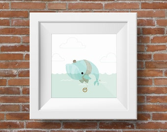 The Bowler : Whale in Bowler Hat - Giclee, Illustrated Childrens Art Print, Nursery Decor