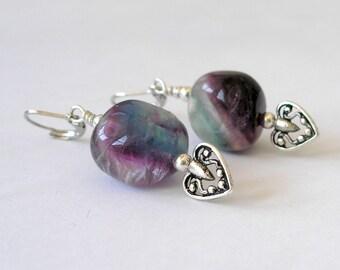 Rainbow Fluorite Earrings- Boho Chic Fashion Jewelry For Women- Chunky Gemstone Silver Drop Earrings, Heart Accent