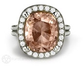 Large Cushion Morganite Ring Morganite Engagement Ring Diamond Halo Statement Ring Cocktail Ring in 14K or 18K Gold