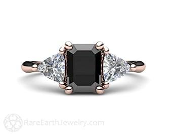 Black Diamond Engagement Ring 3 Stone Vintage Black Diamond Ring Unique Engagement 14K or 18K Gold or Platinum