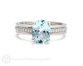 Aquamarine Ring Aquamarine Engagement Ring Oval Solitaire 14K or 18K Gold March Birthstone Gemstone Ring