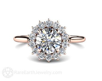 1ct Moissanite Engagement Ring Conflict Free 14K or 18K Rose Gold or Platinum Forever Brilliant