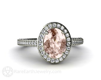 14K Morganite Engagement Ring Oval Diamond Halo Setting Morganite Ring 14K White Yellow Rose Gold Bridal Jewelry