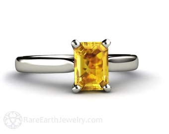 Yellow Sapphire Ring Sapphire Engagement Ring Emerald Cut Solitaire in 14K or 18K Gold Yellow Gemstone Ring