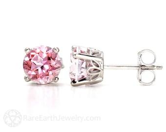 Pink Topaz Earrings 14K Pink Stud Earrings From Pick your Size Post Earrings