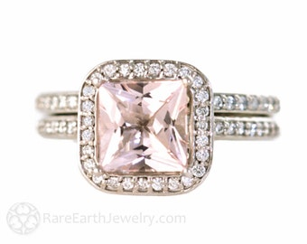 Platinum Morganite Engagement Ring & Wedding Band Princess Diamond Halo Morganite Ring Custom Bridal Jewelry