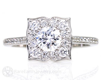 Art Deco White Sapphire Engagement Ring Diamond Halo 14K White Yellow Rose Gold Vintage Custom Bridal Jewelry