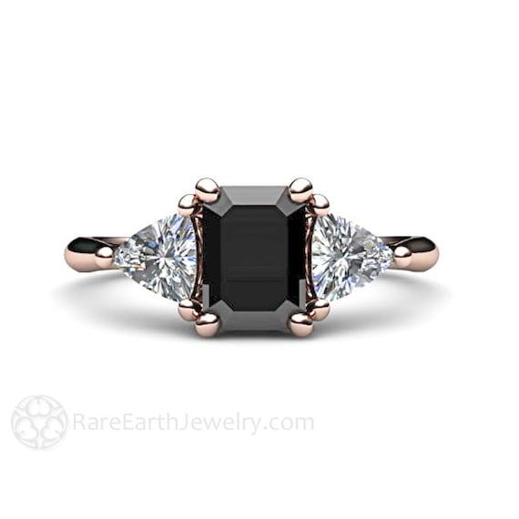 Super Bague de fiançailles diamant noir 3 Pierre Vintage Black SI52