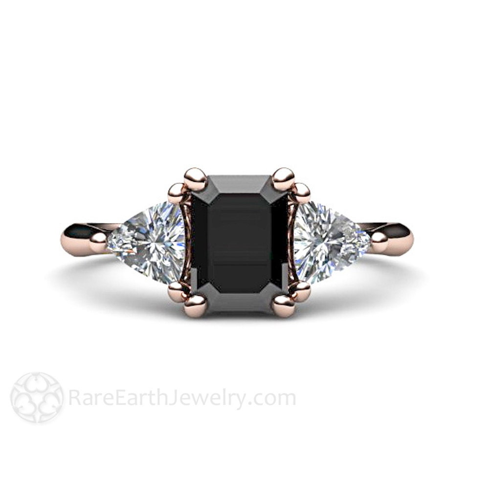 Black diamond engagement ring 3 stone vintage black diamond for Black wedding rings with diamonds