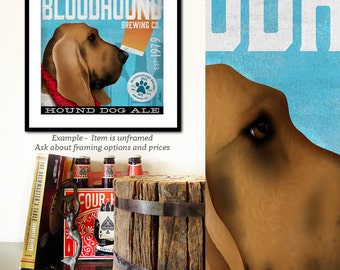 Bloodhound beer dog Brewing company vintage style graphic art giclee archival signed print by stephen fowler PIck A Size