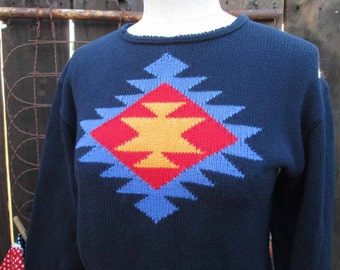 Southwest Sweater Vintage 90s Indian blanket  pullover cropped  Navy geometric sweater  M