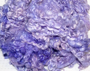 Cotswold Wool Locks, Locks for Spinning, Felting Fiber, Wool Doll Hair, Doll Wig, Hand Dyed in Shades of Lilac and Lavender 1 oz.