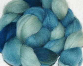 Merino, Wool Roving, Spinning Fiber, Felting Fiber, Merino Top, Hand Dyed in Shades of Desert Sage Dark to light variegated 2 oz.