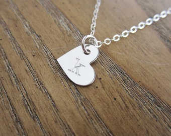 Dainty heart necklace Handstamped silver initial necklace Personalized necklace Heart charm Gift for Mom Girlfriend gift Letter necklace