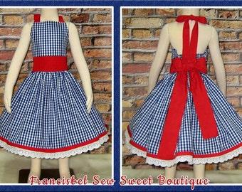 Girls Halter Dress, Blue Dress For Girls, Boutique Dress, Summer Dress, Girl Dress, Toddler Dress Infant Dress, Girl Party Dress