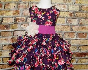 Girls Ruffle Purple Dress, Girls Photo Prop Dress, Ruffle Dress For Birthday Photos, Japanese Cotton Fabric, Birthday Dress