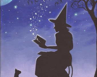 Best Friends #2 - 8 x 10 Print of Original Acrylic Witch Painting by Carolee Clark