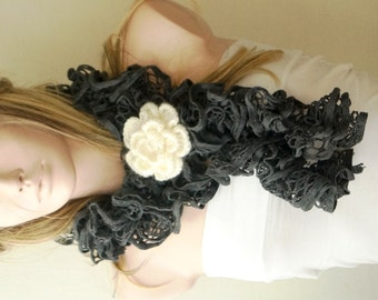 Grey Color- Web lace -Handmade- Crochet Scarf,  Gift with brooch