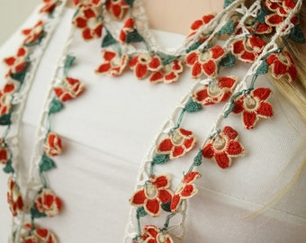 FLORA- Red, white and green Lace flower Necklace, Lariat, Bracelet - Turkish lace Work
