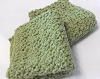 Crocheted Dish Cloths, Cotton Wash Cloths in Light Moss Green, Summer Stripes Collection