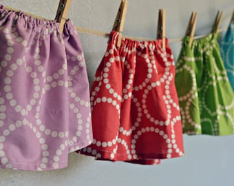 skirt - FREE shipping, one of a kind and ready to ship! - blue white purple lilac green pink red dots Summer 12- 18, 2T