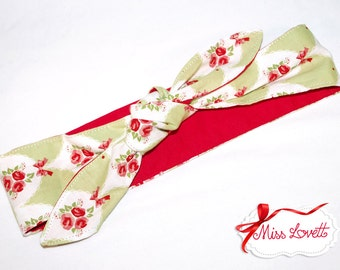 MAE_49 Headband bows/flowers PISTACCHIO (2 in 1)