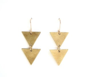 Geometric Double Triangle Earrings - Gold or Silver