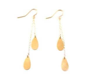 Minimalist Raindrop Earrings - Brass, Gold Filled or Sterling Silver