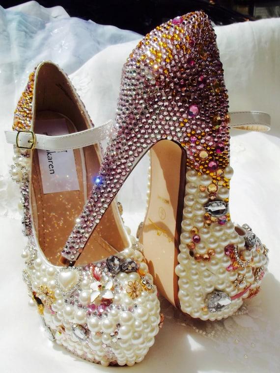Wedding Shoes Bespoke Luxury Pearl Rhinestones By Norakaren