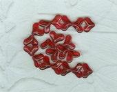 20 Victorian Rose Pink  Interlocking Heart Beads Glass German 14 mm