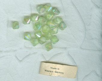 Vintage Pastel Green Givre 8 mm. Glass Bicone Beads West German