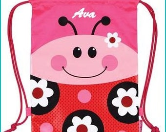 Personalized Ladybug Backpack, School Bag, Beach Bag Tote, Accessories Bag, Camp Laundry Bag, Pre School Backpack, Drawstring Backpack,