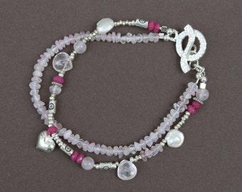 Rose Quartz Ruby Jade Freshwater Pearl Hill Tribe Silver Sundance Style Double Strand Bracelet