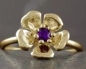 Amethyst flower ring in solid gold 10kt 14kt 18kt, white gold, rose gold, yellow gold, stacking, sakura cherry blossom