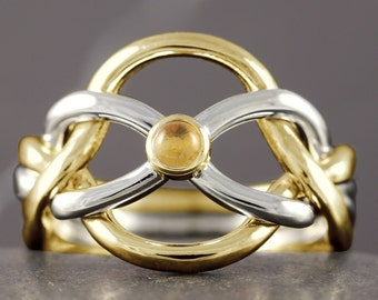 Gold puzzle ring with natural citrine gemstone