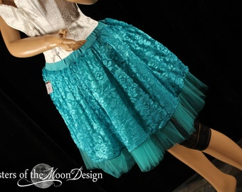 Teal Lace Tutu skirt fairy costume halloween dance ballet dress up - Ready To ship - Small - Sisters of the Moon