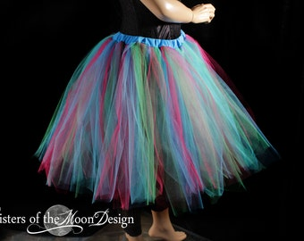 Streamer adult tutu skirt halloween costume knee length goth gothic dance race Turquoise Pink green --You Choose Size -- Sisters of the Moon