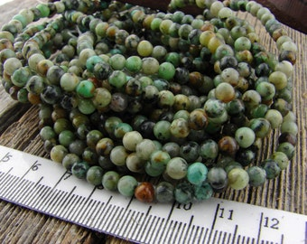 4mm African Turquoise Jasper Beads 4 mm Smooth Round beads Green Blue Black Matrix Earthy