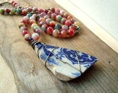 Jade and Sea Glass Necklace Boho Chic Jewelry Bohemian Jewelry Statement Necklace Multi Color Beachy Jewelry Recycled Glass OOAK