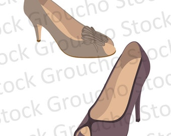 Tan & Purple Peep Toe Heels Royalty Free Clipart Set
